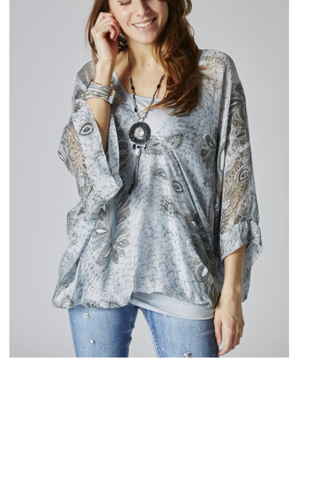 M made in Italy Printed Silk Top - Main Image