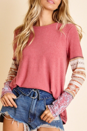 Ces Femme  Printed Sleeve Ribbed T - Product Mini Image