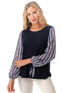 Shoptiques Product: Printed Sleeve Tie Top