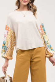 Blu Pepper Printed Sleeve Top - Product Mini Image
