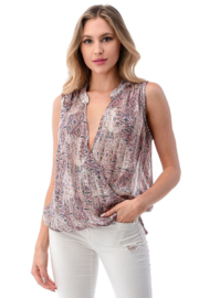 Ariella USA Printed Sleeveless Surplice Top - Front cropped