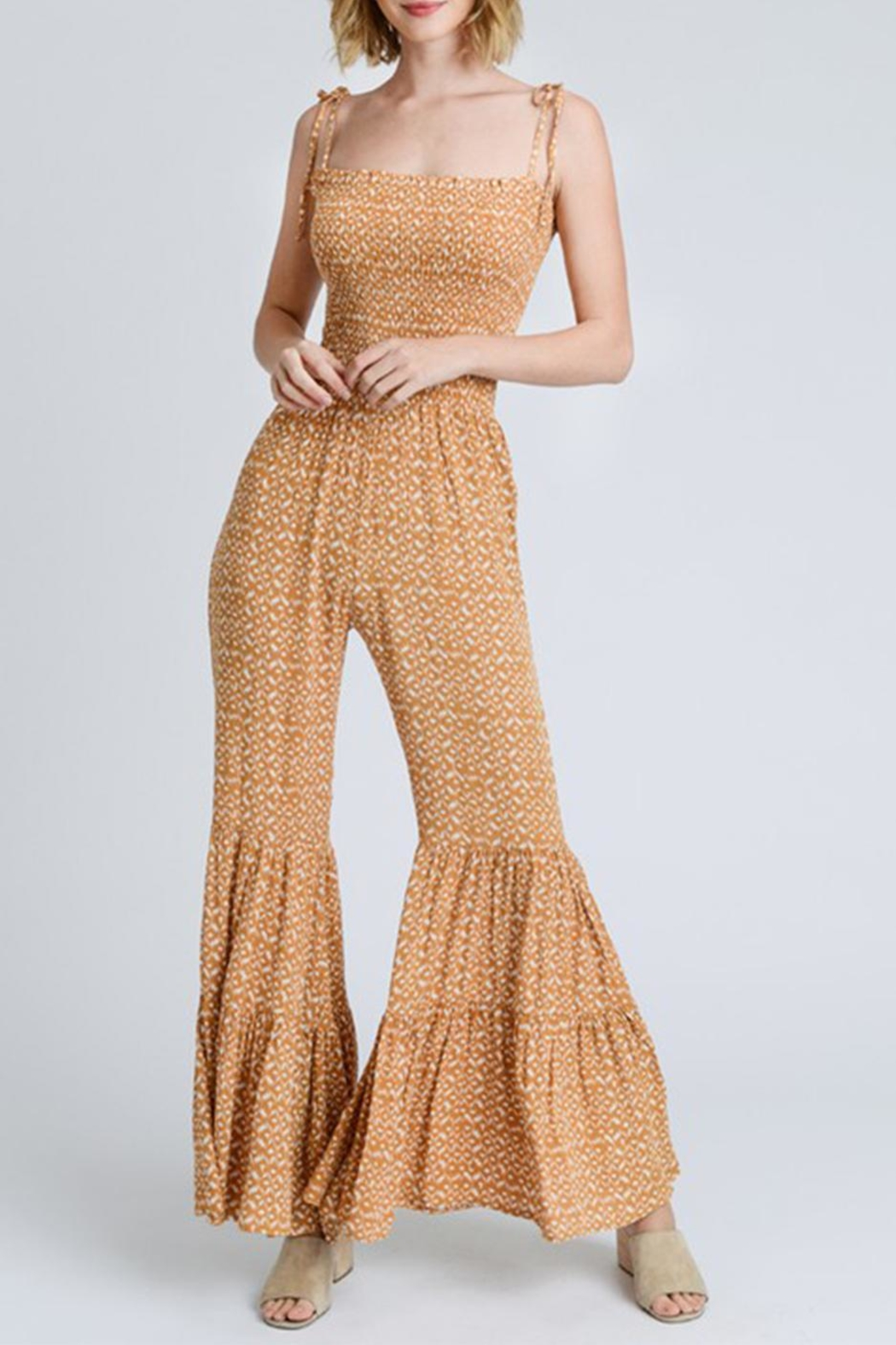 storia Printed Smocked Jumpsuit - Front Cropped Image