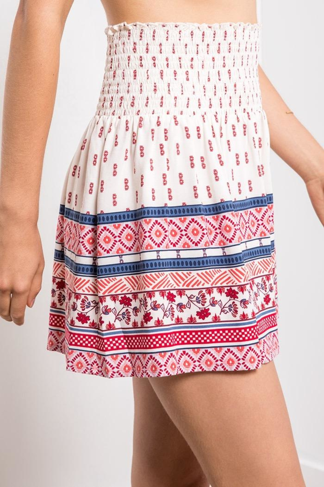 Others Follow  Printed Smocked Mini - Back Cropped Image