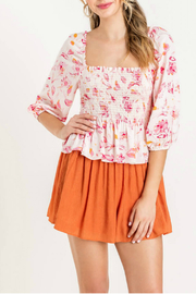 Lush  Printed Smocked Peplum Top - Product Mini Image