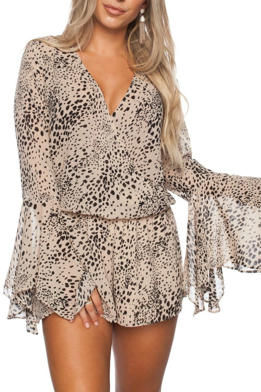 Buddy Love Printed Spencer Romper - Front Cropped Image