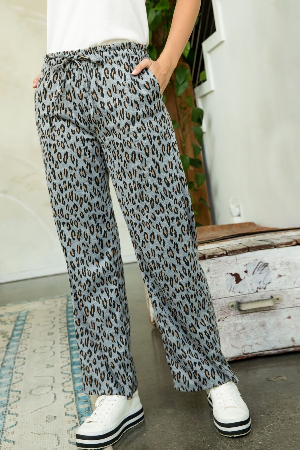 Thml Printed Straight Pants - Front Full Image