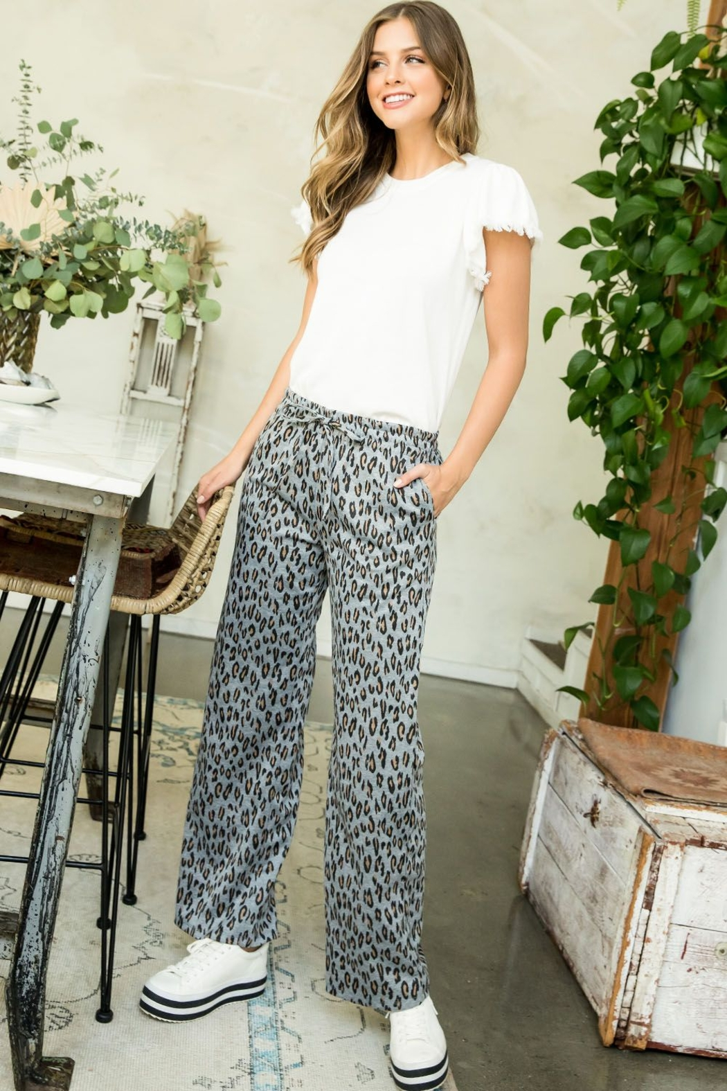 Thml Printed Straight Pants - Front Cropped Image