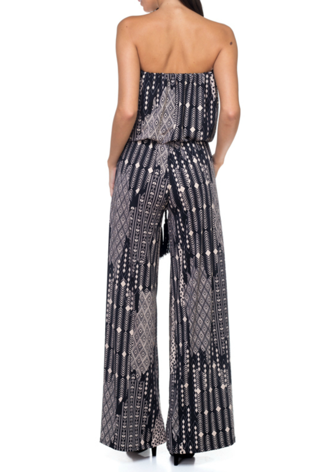 Ariella USA Printed Strapless Jumpsuit w Rope Belt - Front Full Image