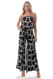 Ariella USA Printed Strapless Jumpsuit w Rope Belt - Front cropped