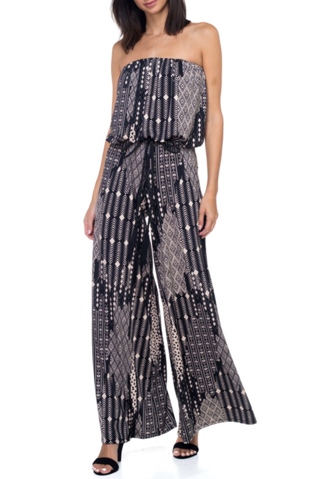 Ariella USA Printed Strapless Jumpsuit w Rope Belt - Front Cropped Image
