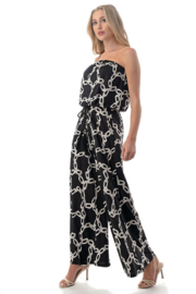 Ariella USA Printed Strapless Jumpsuit w Rope Belt - Front full body