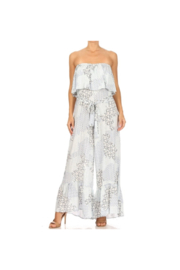Miss M Printed Strapless Jumpsuit with Ruffle Detail - Product Mini Image
