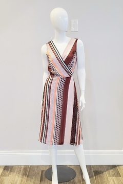Forest Lily Printed Stripe Chiffon Dress - Product List Image