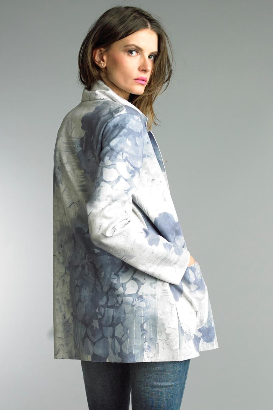Tempo Paris Printed Suede Jacket - Front Full Image