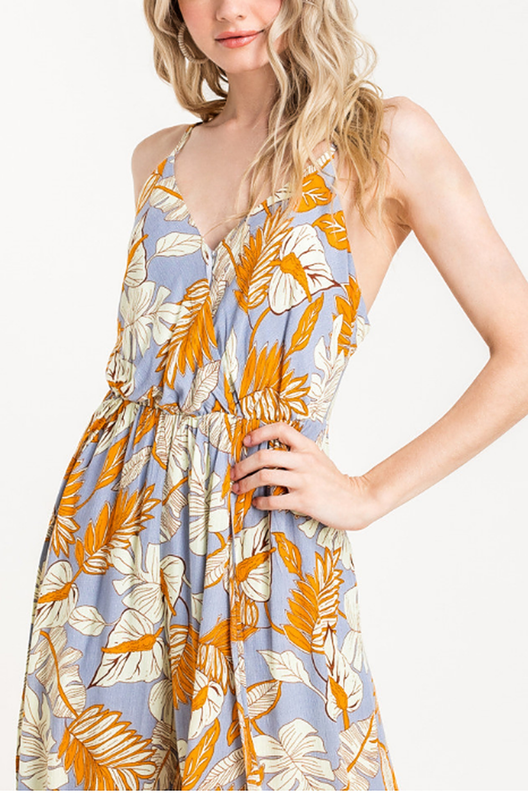 Lush  Printed Surplice Jumpsuit - Side Cropped Image