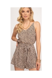 She + Sky Printed Taupe Romper - Product Mini Image