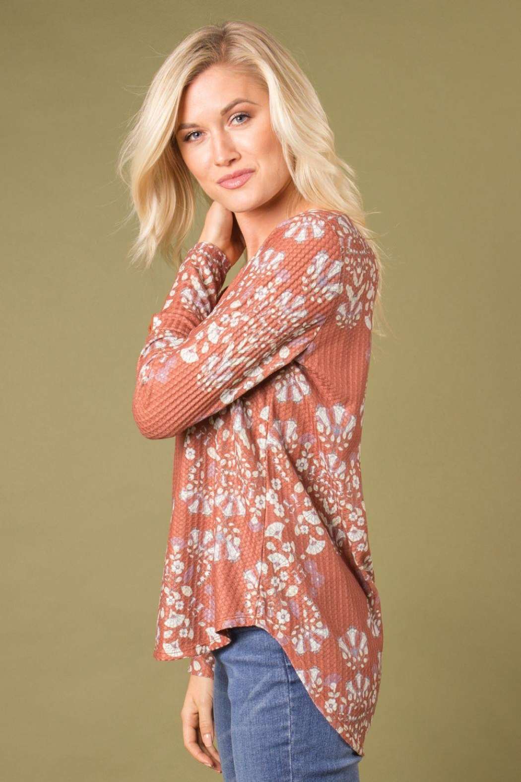 Simply Noelle Printed Thermal Top - Front Full Image