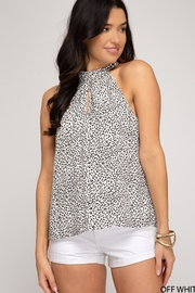She and Sky Printed Tie Back Halter Top - Product Mini Image