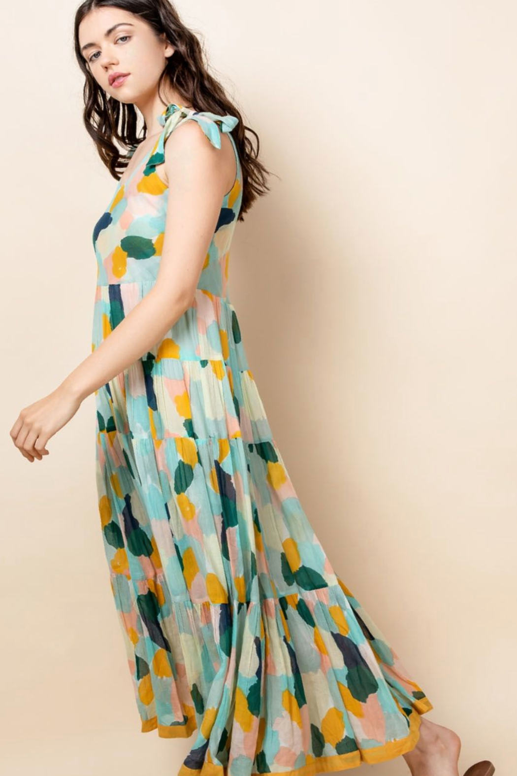 Thml Printed Tie Strap Dress - Front Full Image