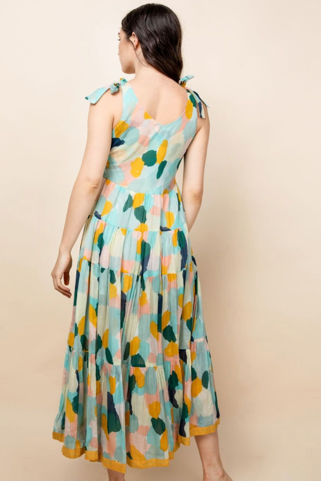 Thml Printed Tie Strap Dress - Side Cropped Image