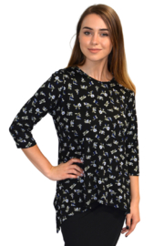 Kosher Casual Printed tunic with side dip handkerchief hem #1244 - Product Mini Image