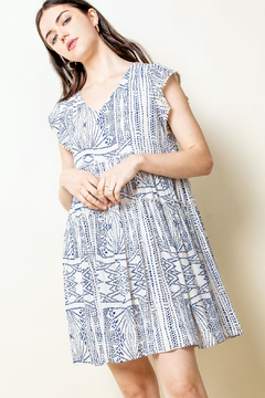 THML Clothing Printed V Neck Dress - Product List Image