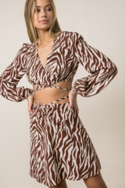 Style Rack  Printed Wrap Crop Top - Front cropped