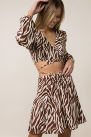 Style Rack  Printed Wrap Crop Top - Front full body