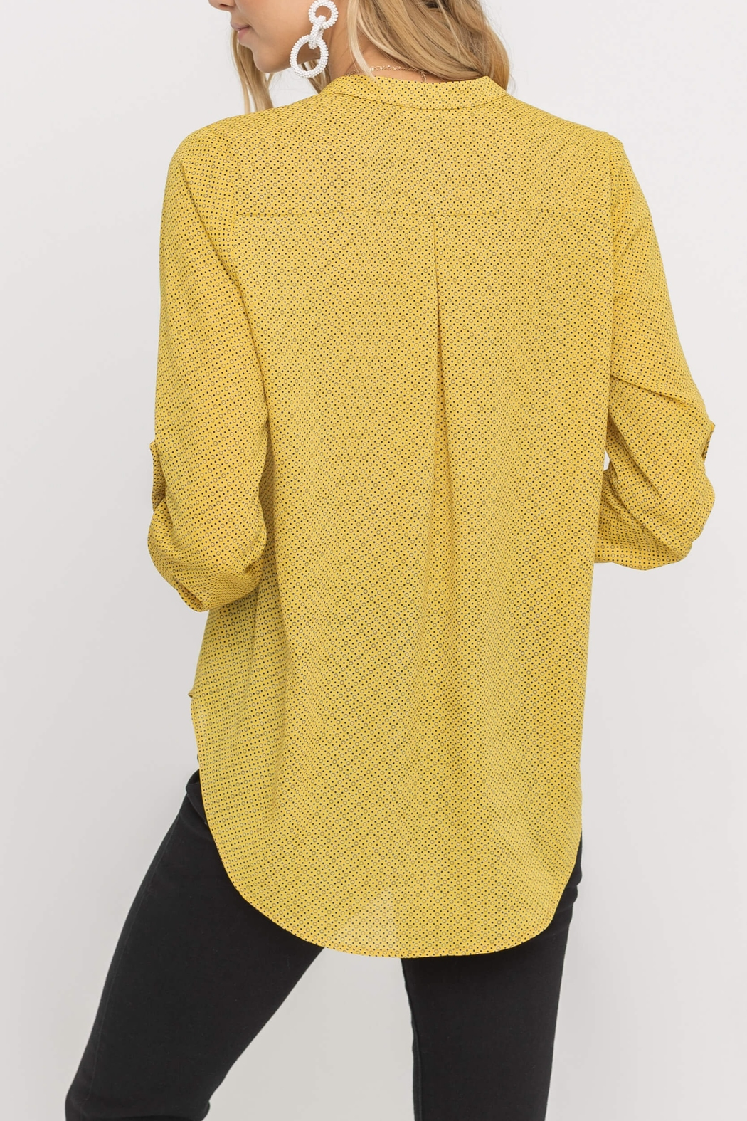 Lush  Printed Yellow Blouse - Front Full Image