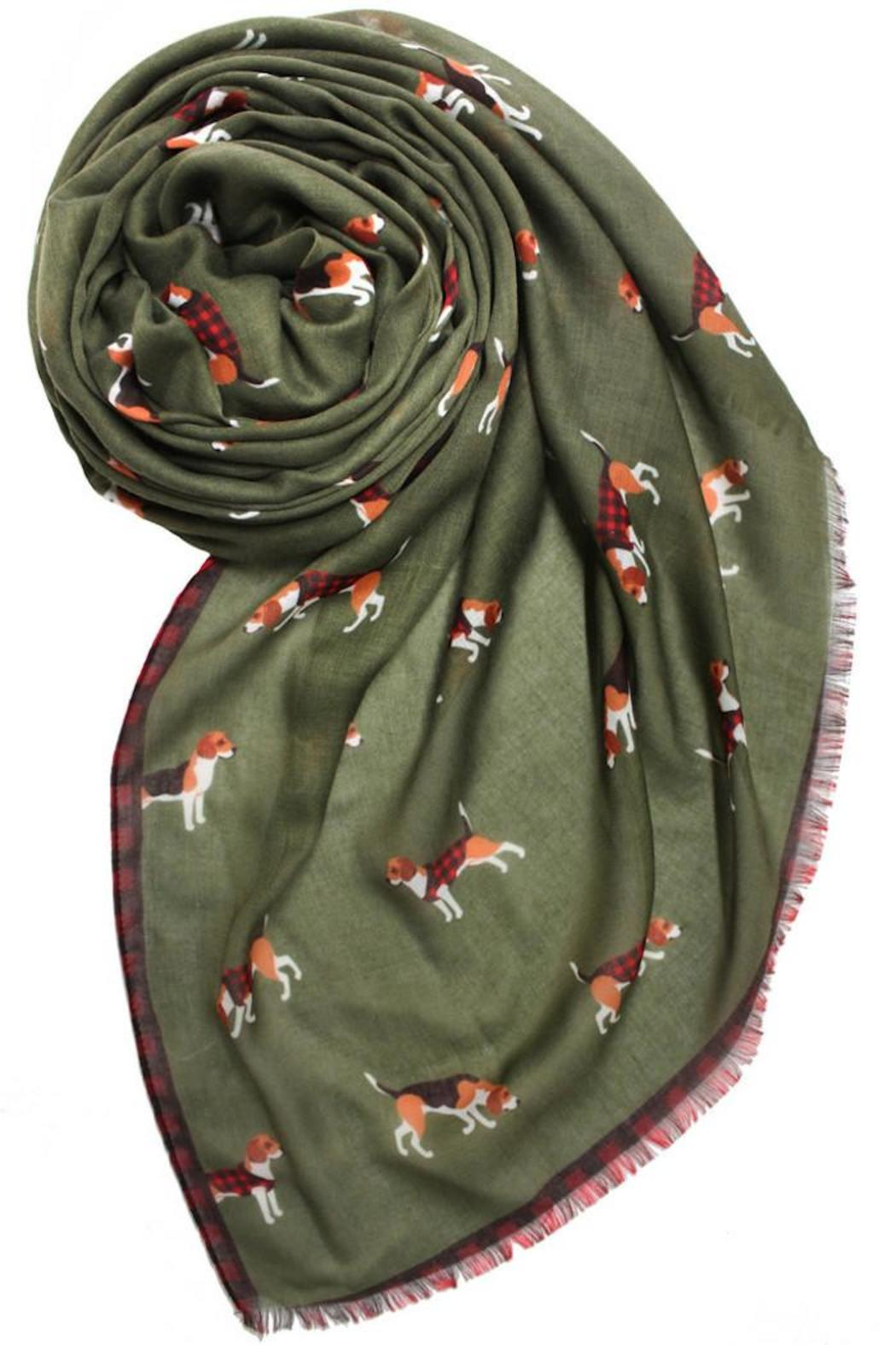 Printed Village Beagle Motif Scarf - Front Cropped Image