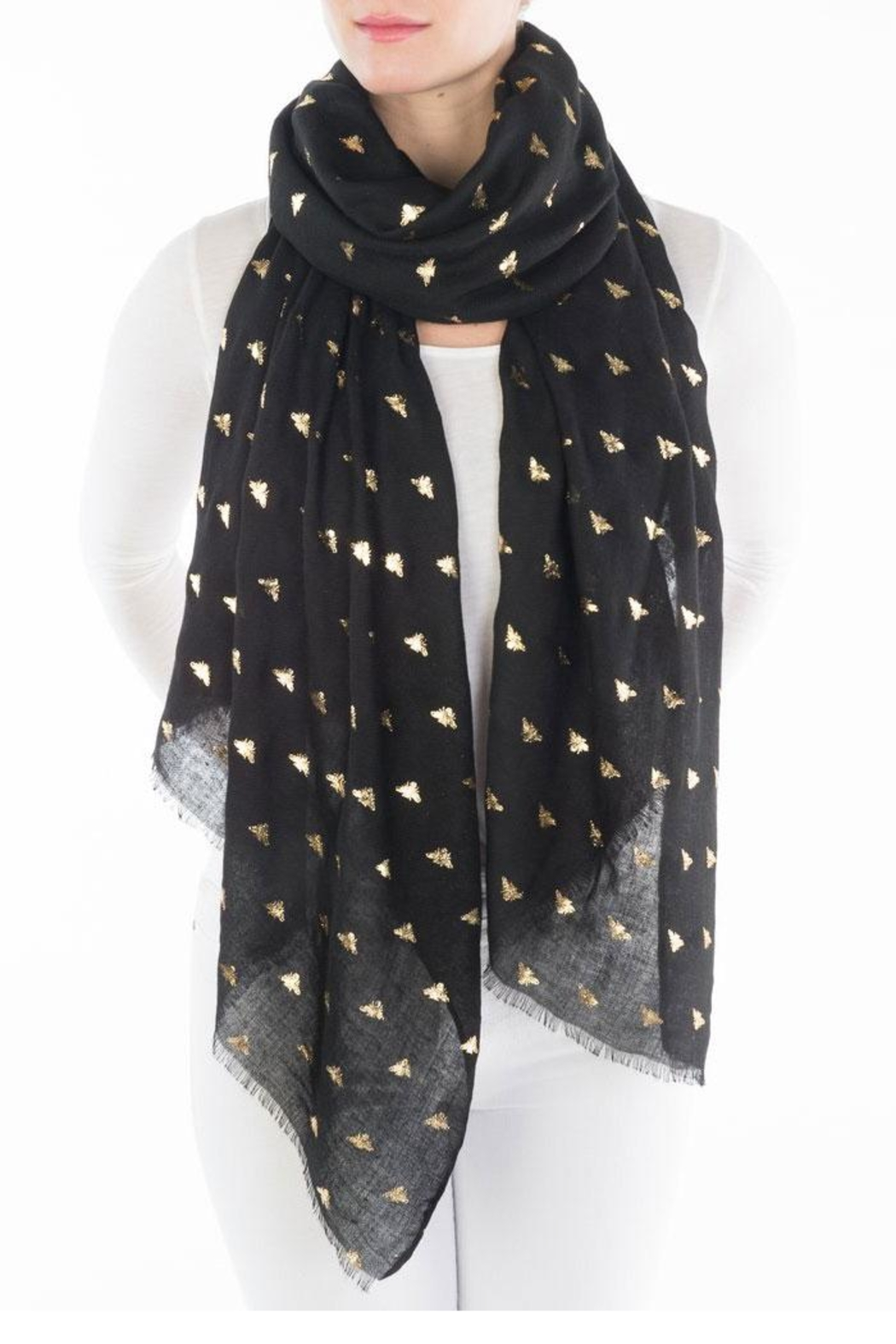 Printed Village Bees Metallic Scarf - Front Cropped Image