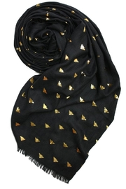 Printed Village Bees Metallic Scarf - Front full body