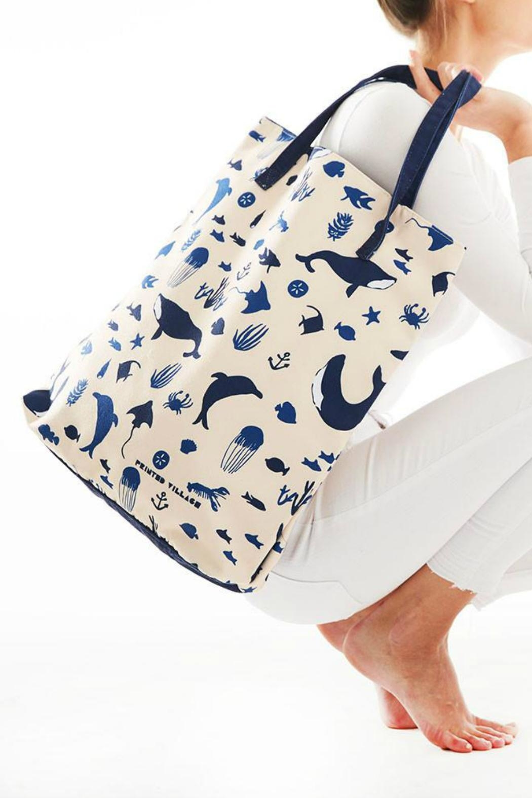 Printed Village Ocean Tote - Front Cropped Image