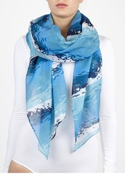 Printed Village Wave Themed Scarf - Product Mini Image