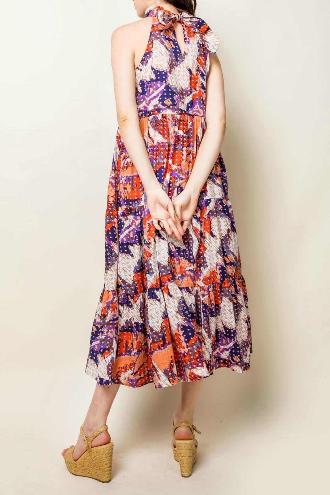 Thml Printer Halter Maxie Dress - Front Full Image