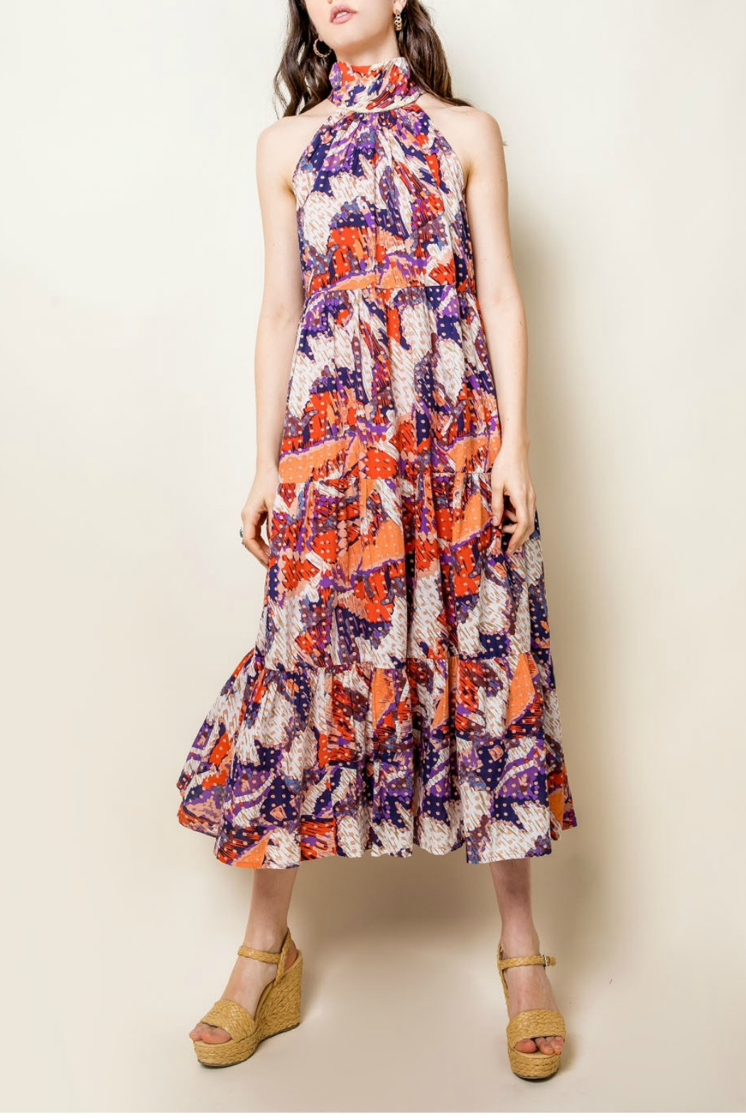 Thml Printer Halter Maxie Dress - Main Image