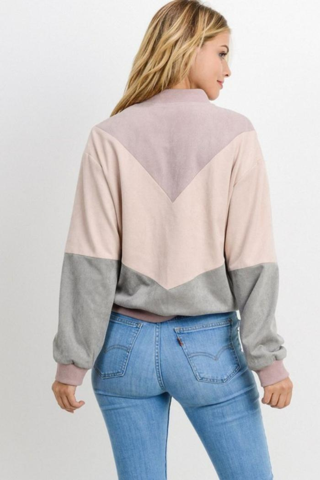 Private Label Colorblock Chevron Jacket - Back Cropped Image