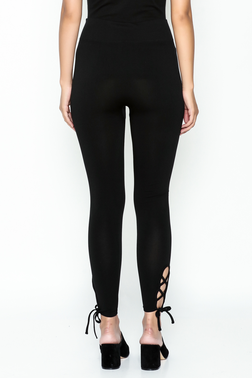 Private Label Criss Cross Leggings - Back Cropped Image
