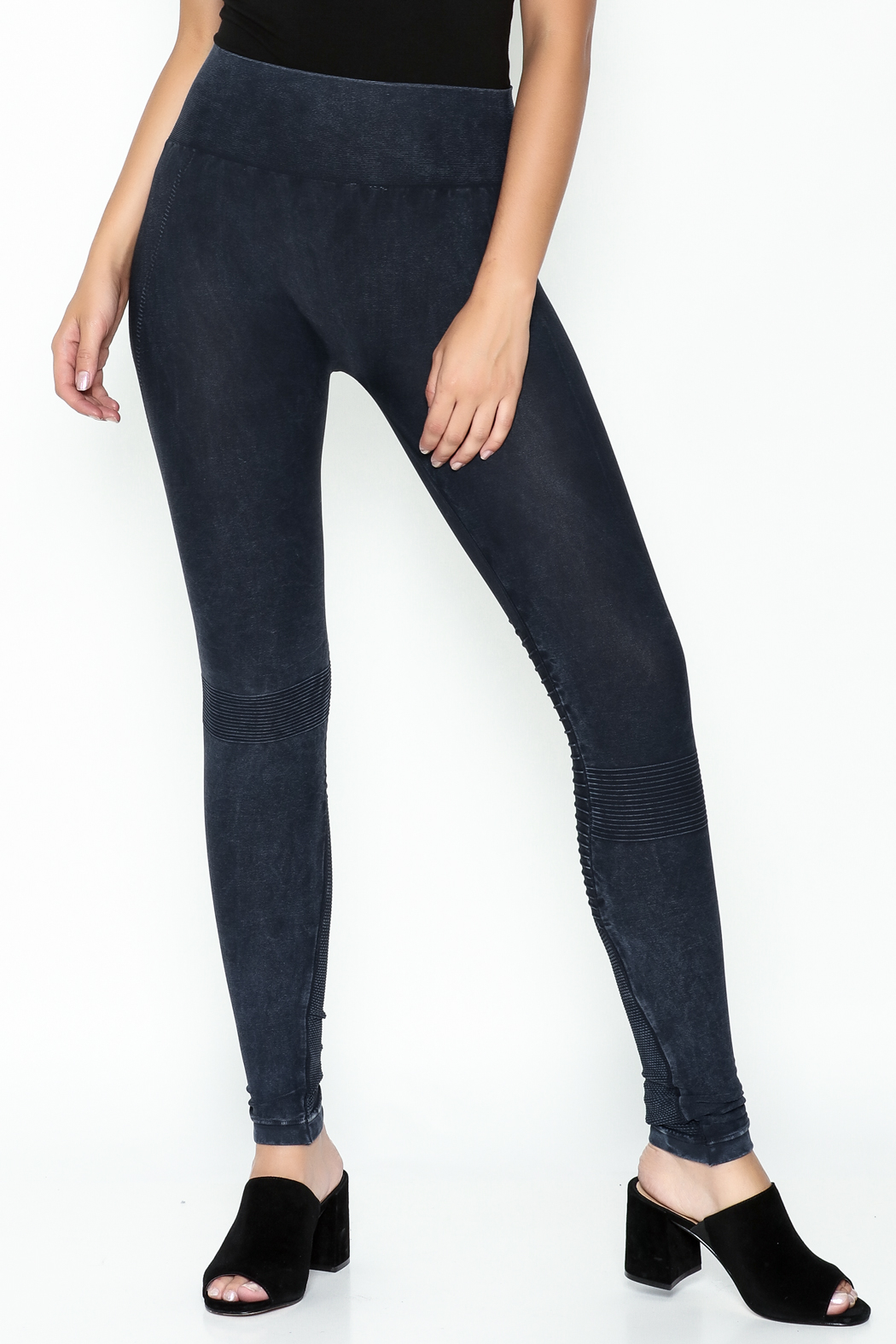 Private Label Denim Wash Leggings - Front Cropped Image