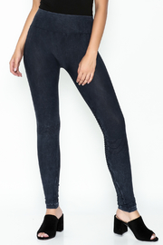 Private Label Denim Wash Leggings - Front cropped