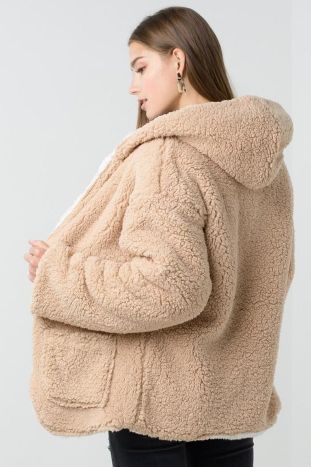Private Label Faux-Sherpa Reversible Hoodie - Side Cropped Image
