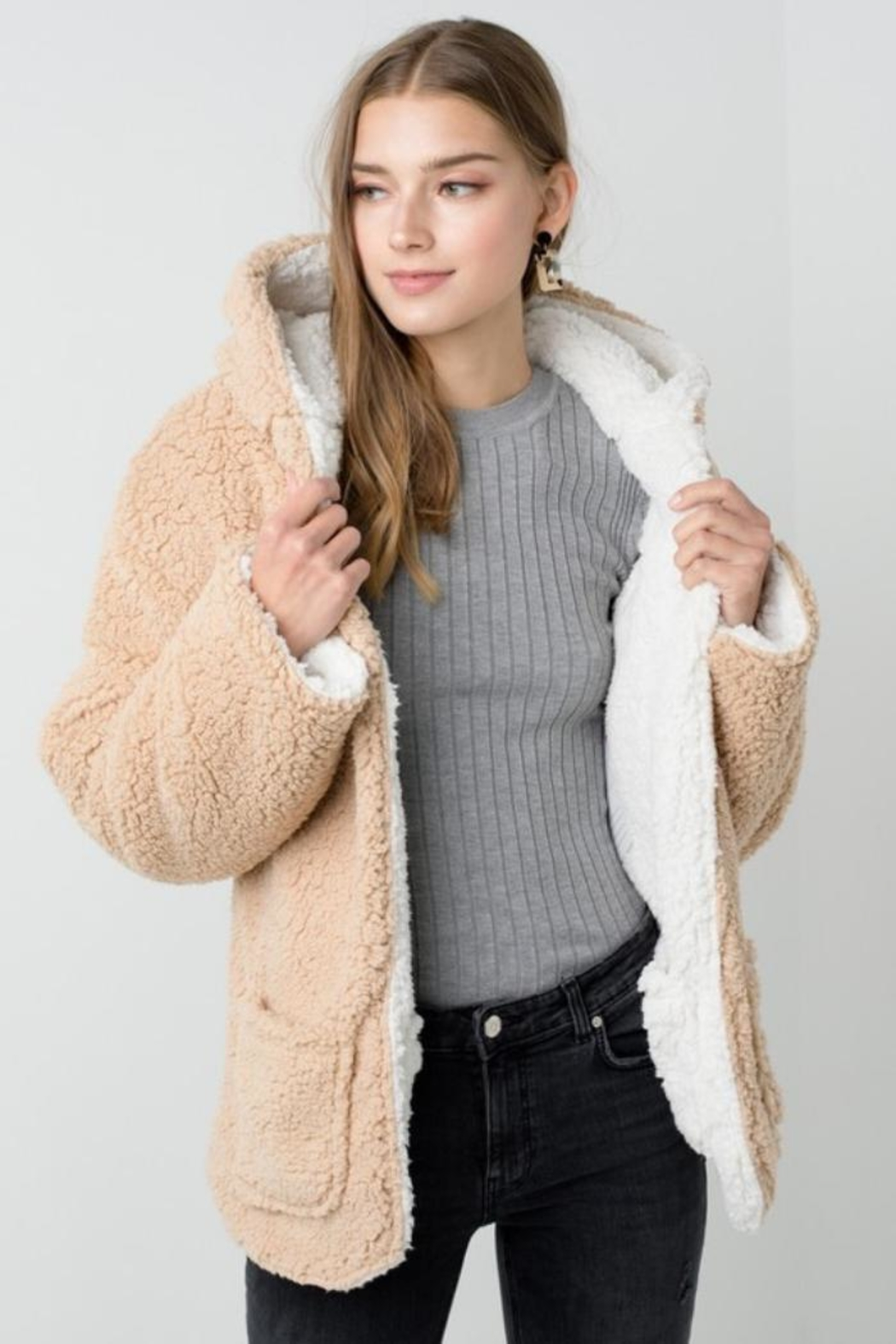 Private Label Faux-Sherpa Reversible Hoodie - Front Full Image
