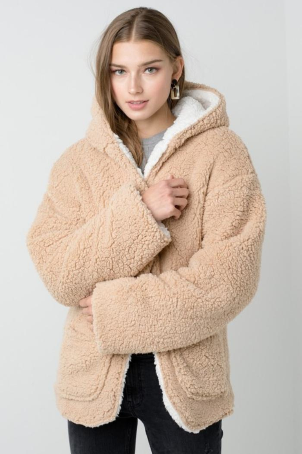 Private Label Faux-Sherpa Reversible Hoodie - Front Cropped Image