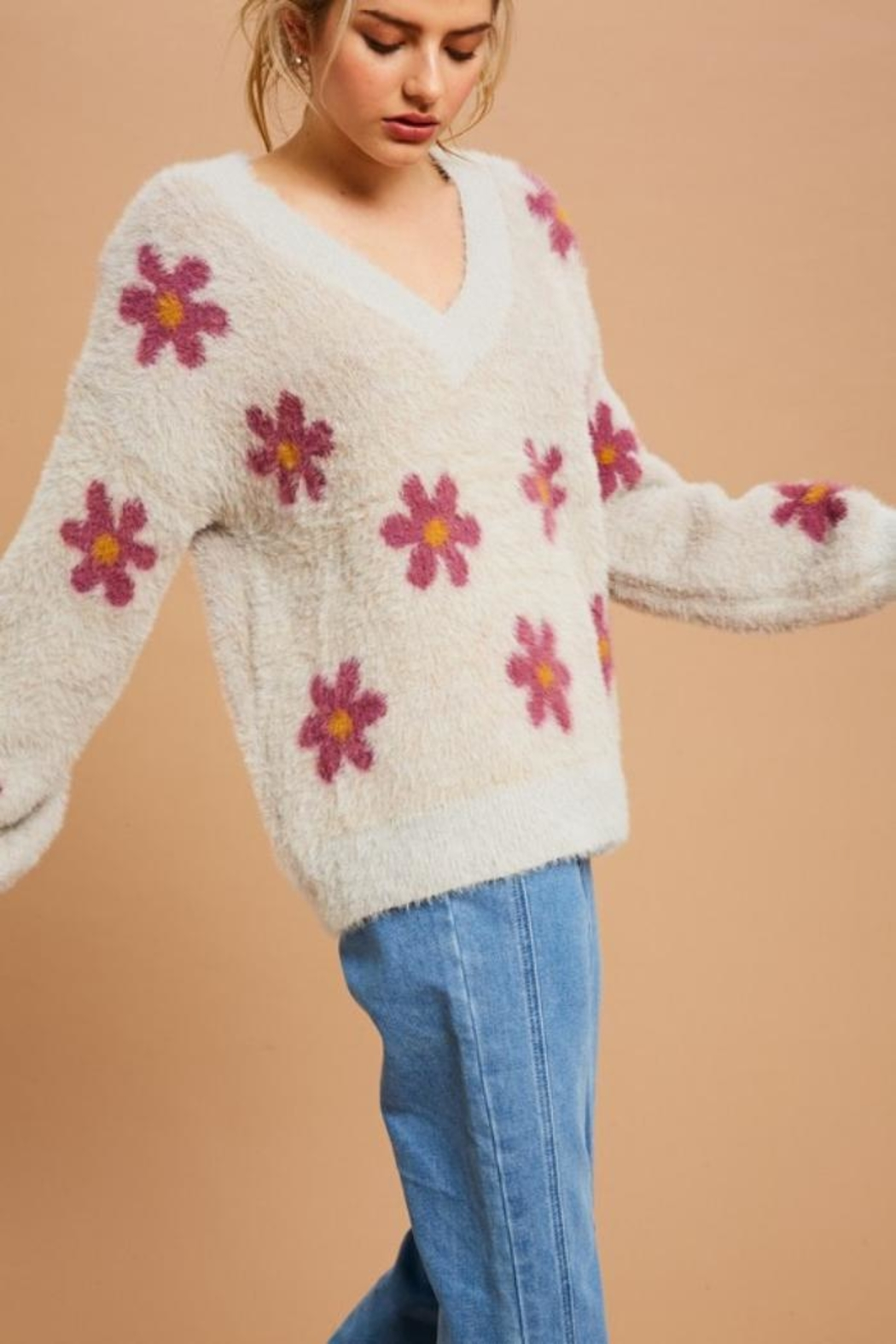 Private Label Flower Power Fuzzy Sweater - Front Full Image