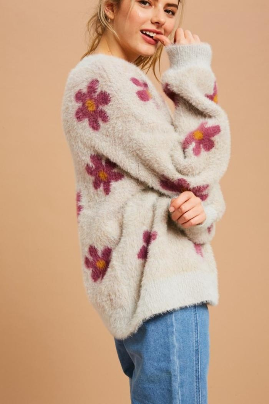 Private Label Flower Power Fuzzy Sweater - Side Cropped Image