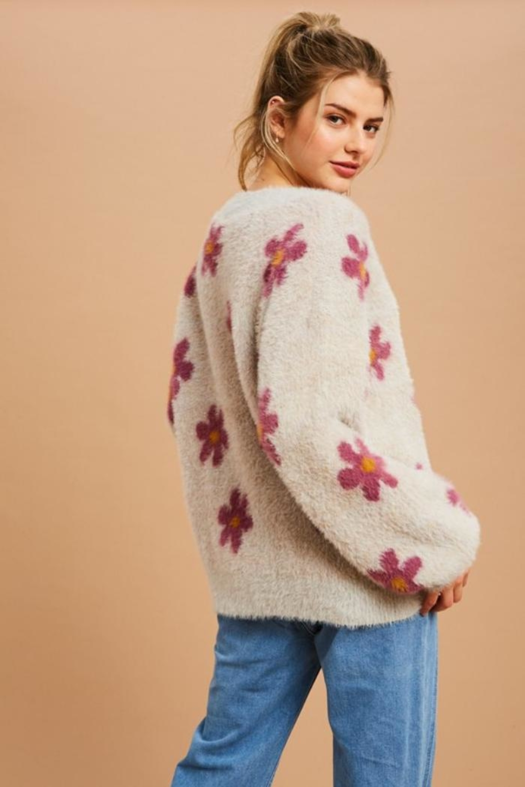Private Label Flower Power Fuzzy Sweater - Back Cropped Image