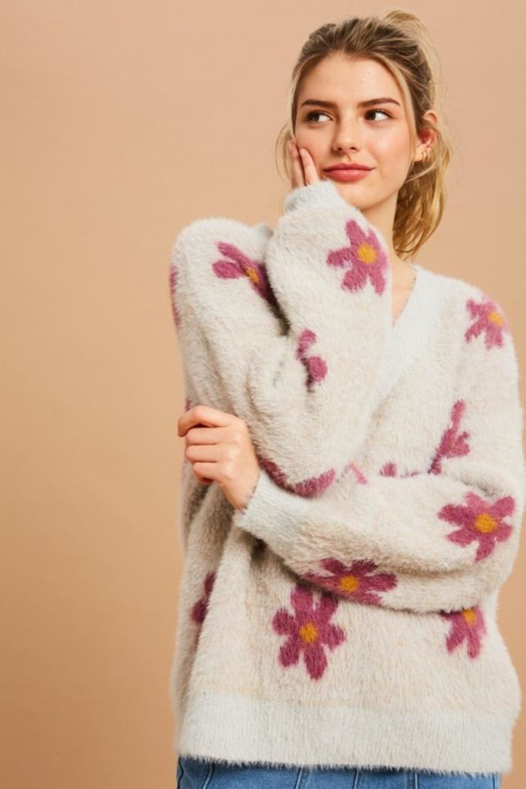 Private Label Flower Power Fuzzy Sweater - Front Cropped Image