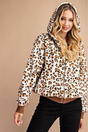 Private Label Leopard Faux-Fur Hoodie - Front cropped