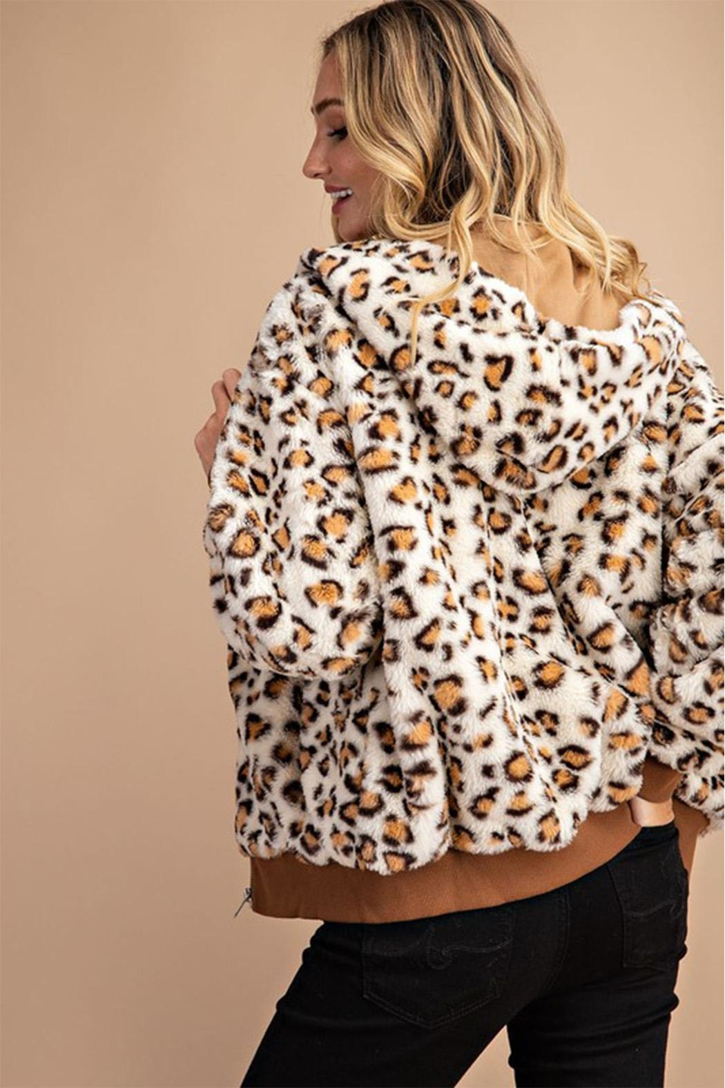 Private Label Leopard Faux-Fur Hoodie - Side Cropped Image