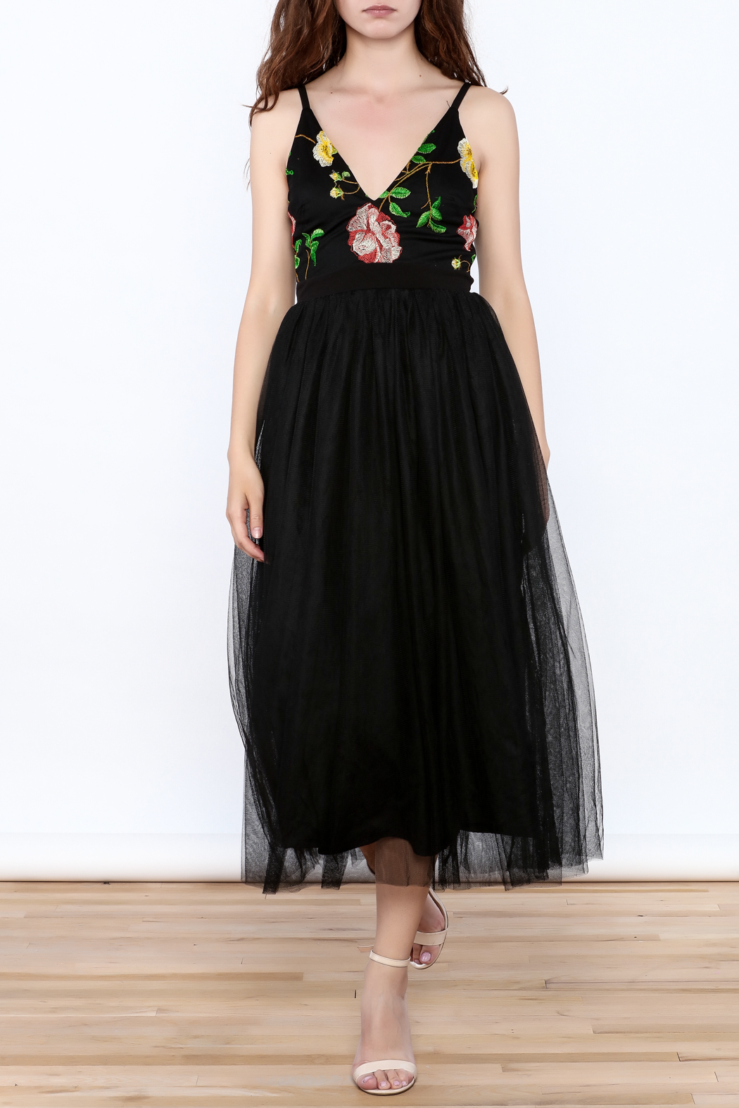 privy Black Embroidered Sleeveless Dress - Front Full Image